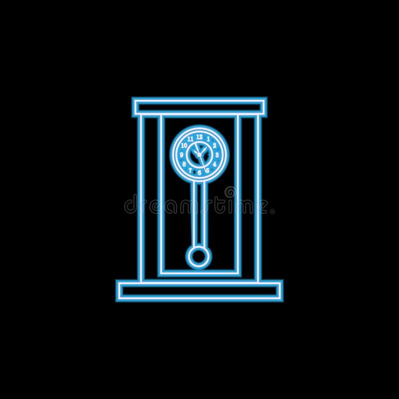 Rétro ligne en bois icône d'horloge de pendule dans le style au néon Un de l'icône de collection d'horloge peut être employé pour illustration libre de droits
