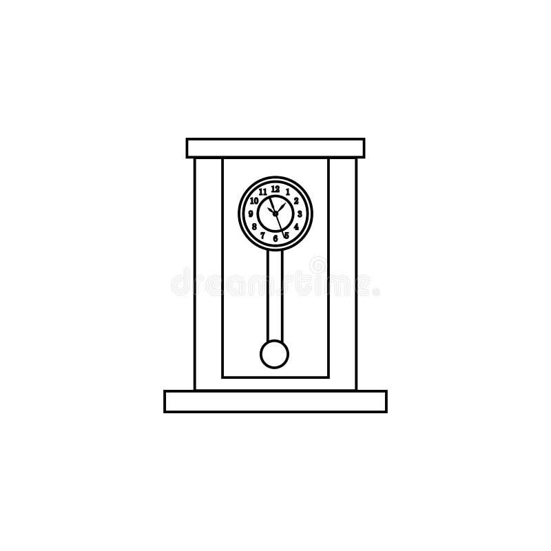 Rétro ligne en bois icône d'horloge de pendule Graphisme d'horloge Conception graphique de qualité de la meilleure qualité Signes illustration libre de droits