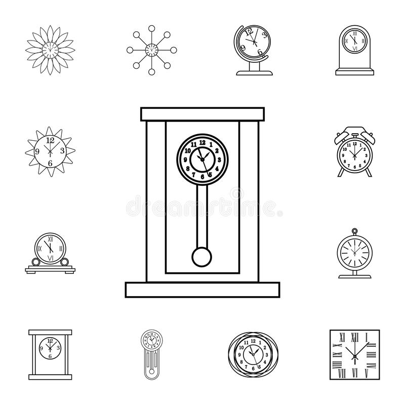 Rétro ligne en bois icône d'horloge de pendule Graphisme d'horloge Conception graphique de qualité de la meilleure qualité Signes illustration stock