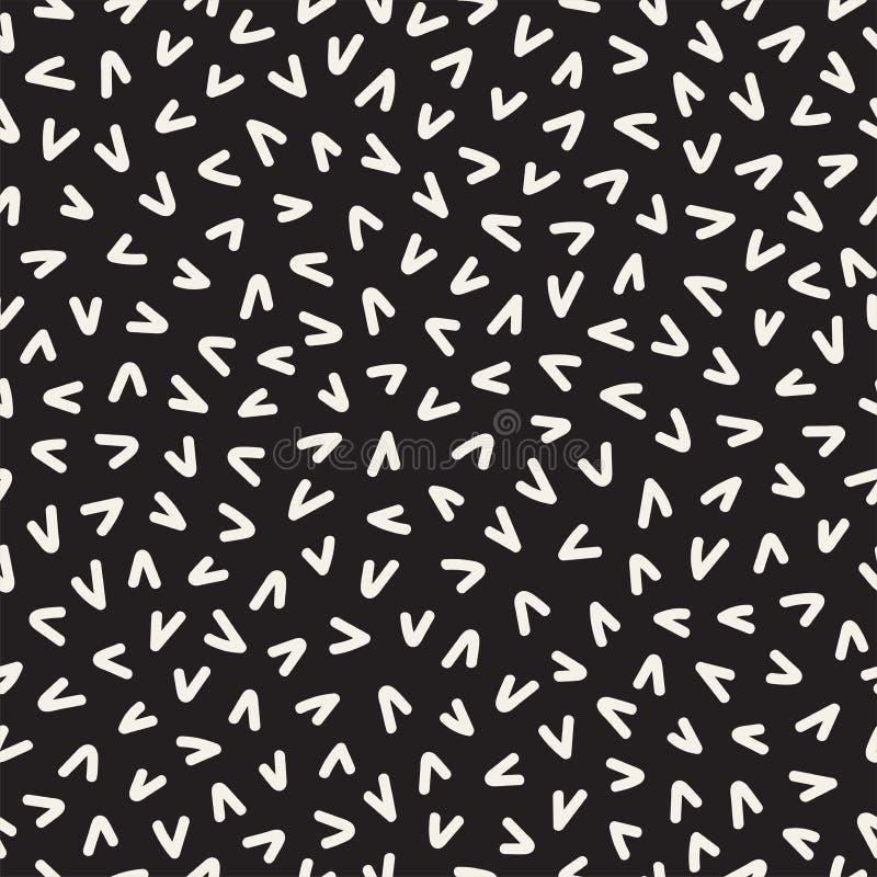 Rétro ligne géométrique modèles sans couture de formes Textures abstraites de pêle-mêle Formes dispersées noires et blanches illustration libre de droits