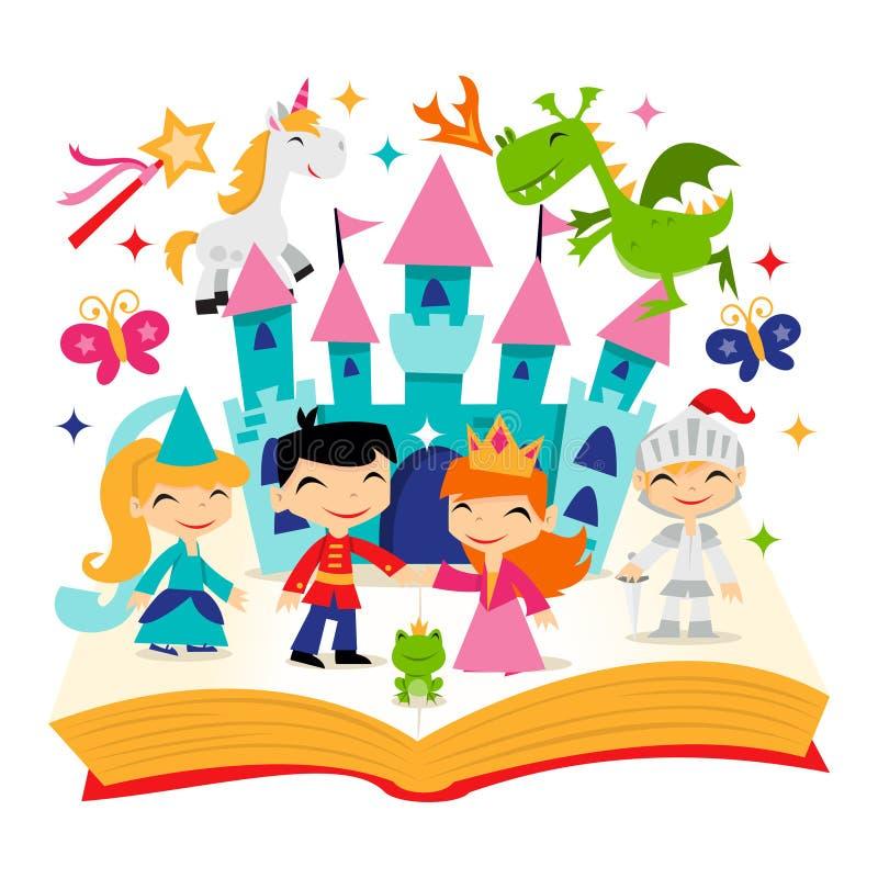 Rétro livre magique d'histoire de royaume de conte de fées illustration de vecteur