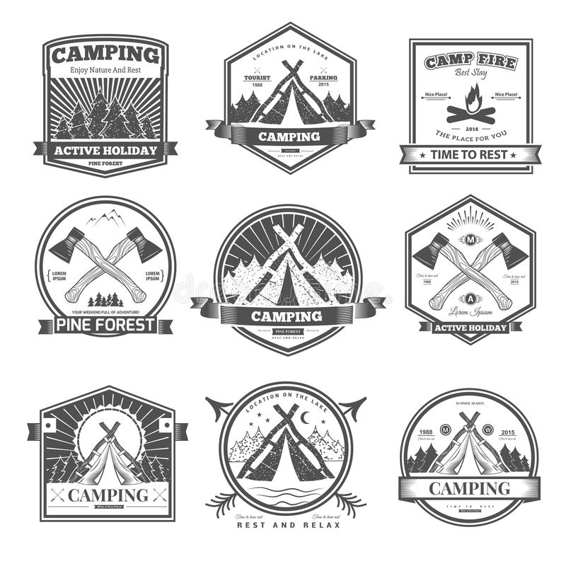 Rétro logo campant de vecteur illustration de vecteur