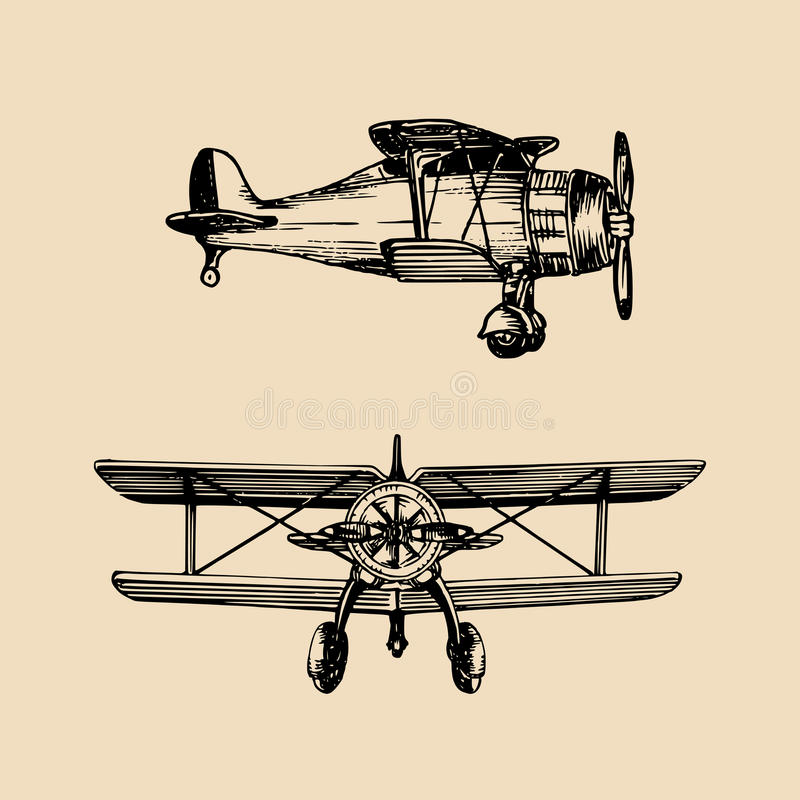 Rétro logo d'avion de vintage Dirigez l'illustration d'aviation esquissée par main dans le style de gravure pour l'affiche, la ca illustration libre de droits