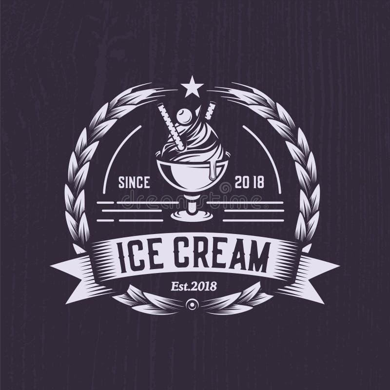 Rétro logo de crème glacée  Logo d'emblème de vintage Illustration d'une conception classique d'insigne illustration de vecteur