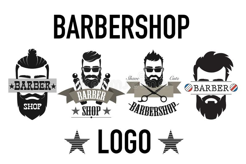 R?tro logo de raseur-coiffeur de cru, label, embl?me et badgesisolated sur l'illustration blanche de vecteur illustration de vecteur