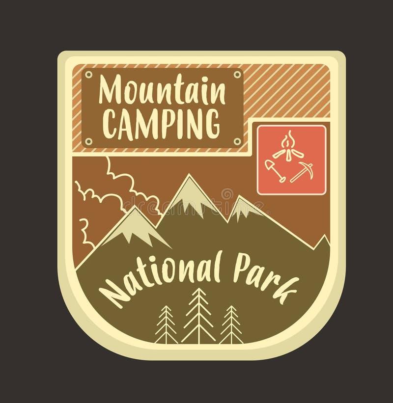 Rétro logo et emblème de montagne avec le feu de camp et les haches Peuvent être nous illustration de vecteur