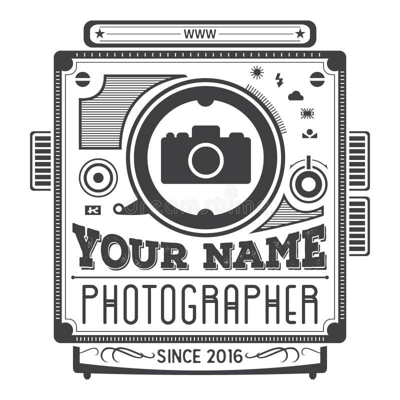 Rétro logotype de vintage de vieil appareil-photo pour des photographes illustration libre de droits