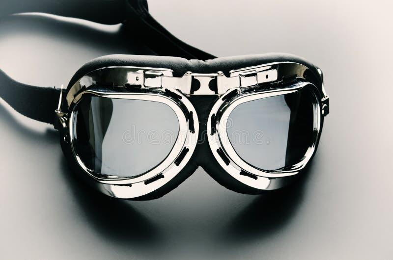 Rétro lunettes de motocyclette de cru images libres de droits