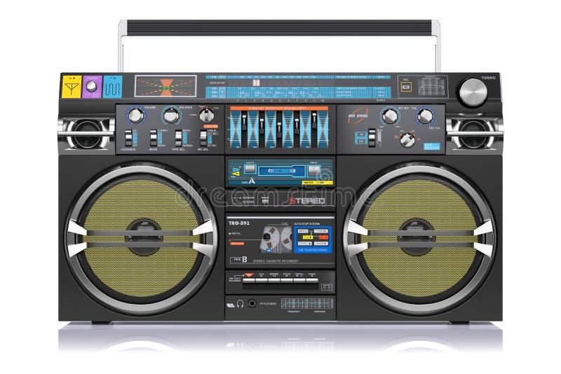 Rétro magnétophone à cassettes d'isolement sur le fond blanc illustration libre de droits