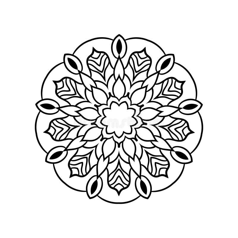 Rétro mandala ornemental de cru Modèle symétrique rond illustration de vecteur