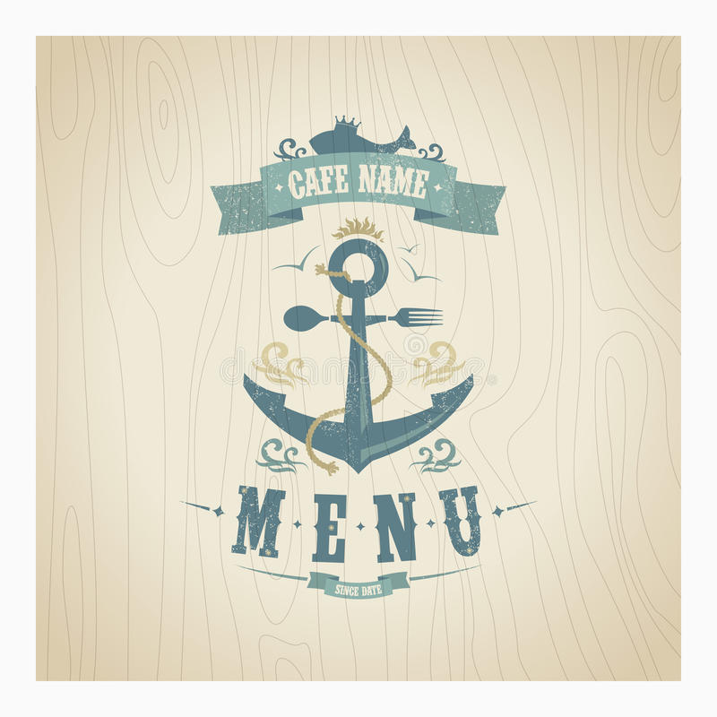 Rétro menu de fruits de mer de restaurant illustration stock