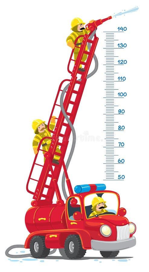 Rétro meterwall drôle de camion de pompiers ou de firemachine illustration libre de droits