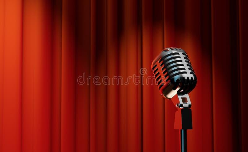 rétro microphone 3d sur le fond rouge de rideau illustration libre de droits