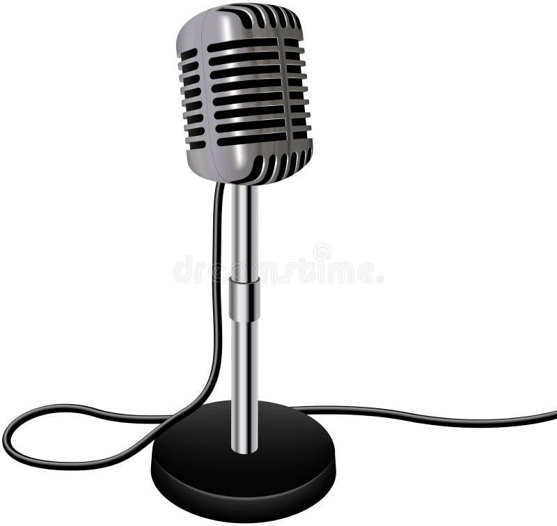 Rétro microphone de vecteur de cru d'isolement sur le fond blanc illustration de vecteur