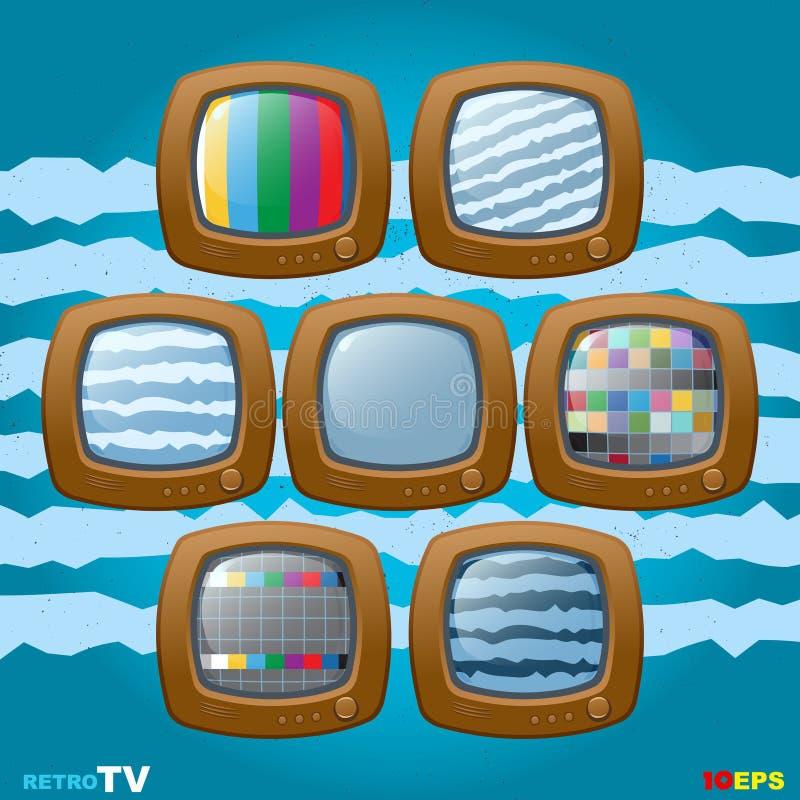 Rétro mini icône d'ensemble de TV illustration de vecteur