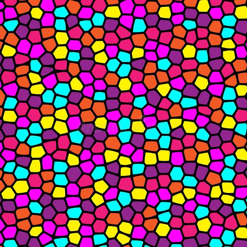 Rétro modèle coloré d'abstrac géométrique de formes en verre souillé illustration stock