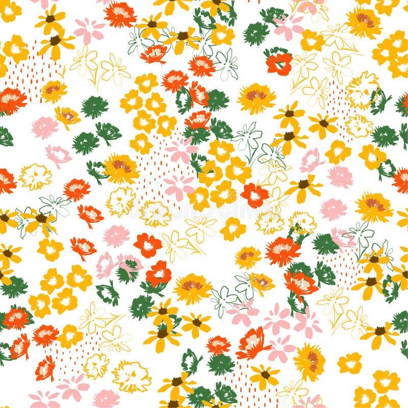 Rétro modèle coloré fleuri coloré en fleurs à petite échelle style de liberté Conception sans couture florale pour la mode, tissu illustration de vecteur