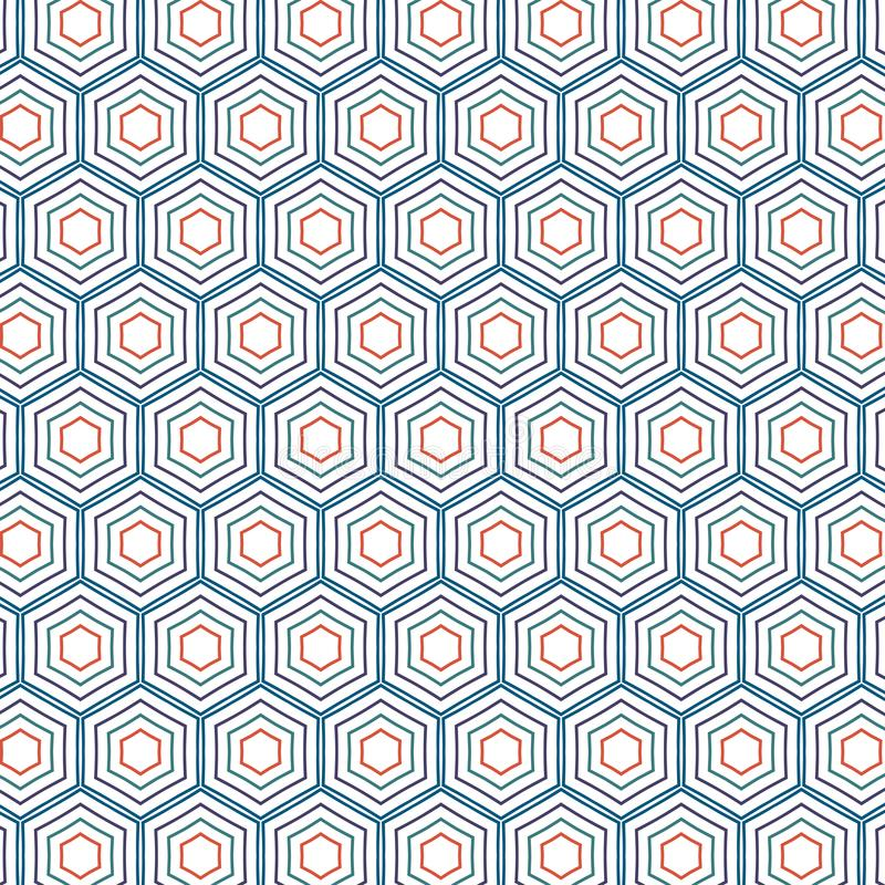 Rétro modèle d'Art Colors Hexagonal Geometric Honeycomb de bruit illustration stock