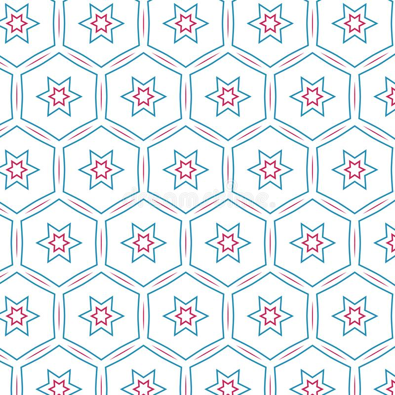 Rétro modèle d'Art Colors Star Geometric Hexagonal de bruit illustration stock