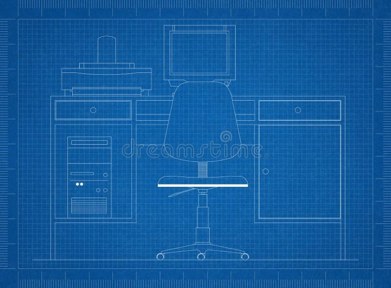 Rétro modèle de bureau - d'isolement illustration stock