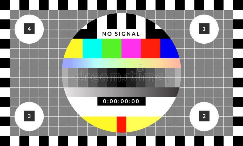 Rétro modèle de diagramme de puce d'essai qui a été employé pour le calibrage de TV illustration stock