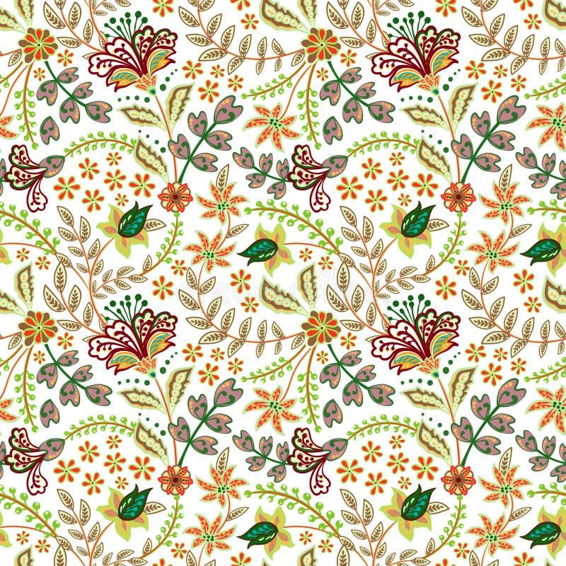 Rétro modèle de fleur sauvage dans les nombreux genre de floral les motifs botaniques ont dispersé aléatoire Texture sans joint d illustration stock