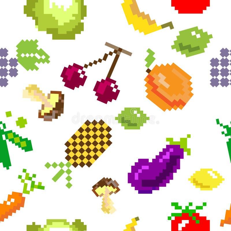 Rétro modèle de fruits de jeu de pixel de vecteur sans couture illustration stock
