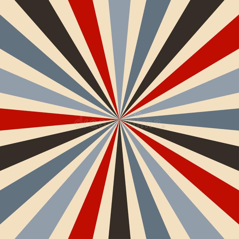Rétro modèle de vecteur de fond de starburst ou de rayon de soleil avec une palette de couleurs de cru de noir bleu et gris rouge illustration stock