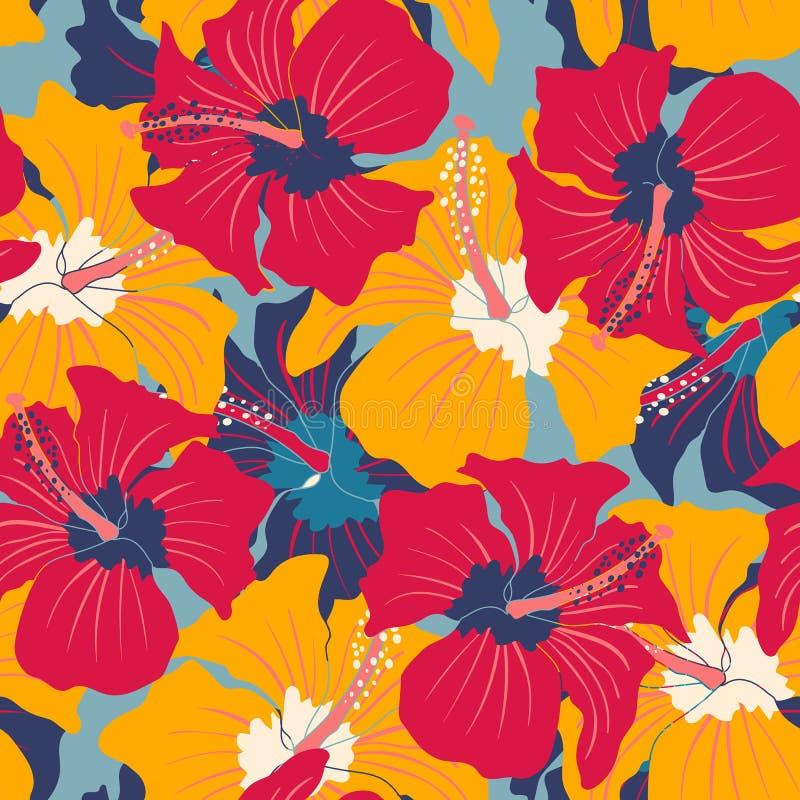Rétro modèle floral avec la ketmie illustration libre de droits