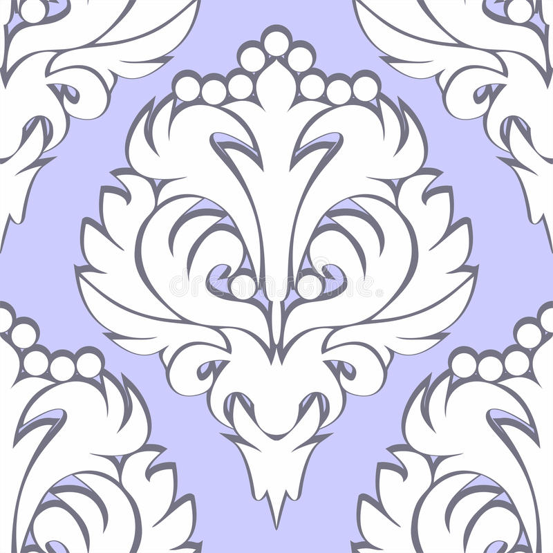 Rétro modèle floral sans couture - blanc sur le bleu illustration stock
