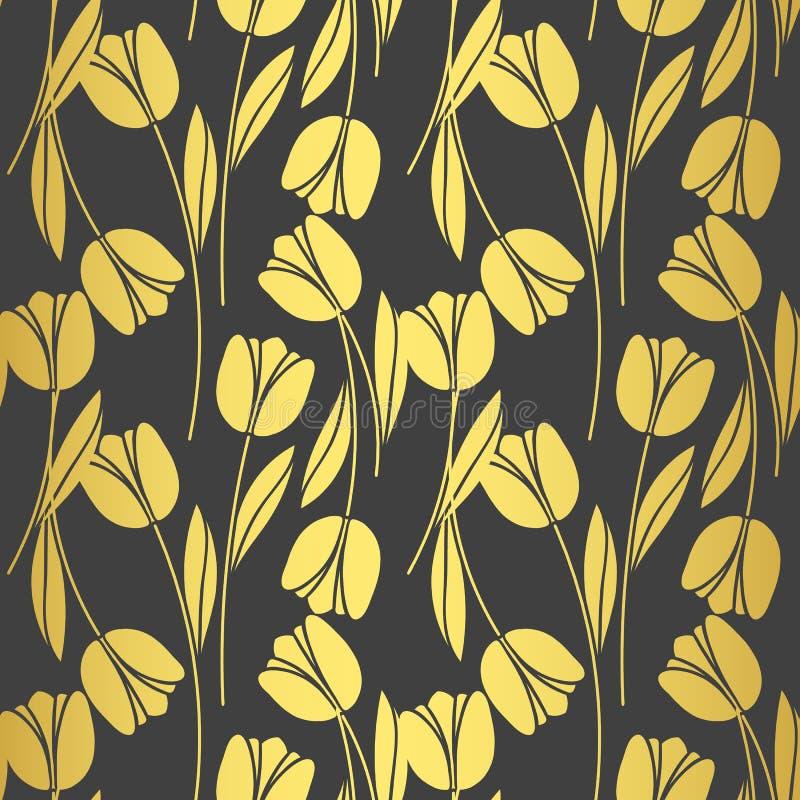 Rétro modèle sans couture abstrait avec des silhouettes des tulipes Fond de conception florale?, contexte, conception de l'illust illustration stock