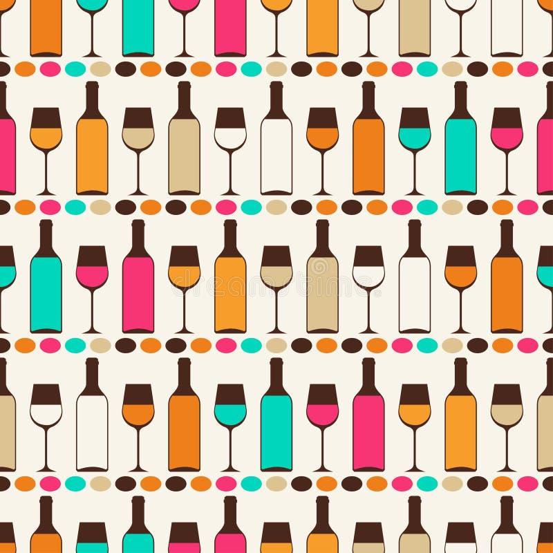 Rétro modèle sans couture avec des bouteilles de vin et illustration libre de droits