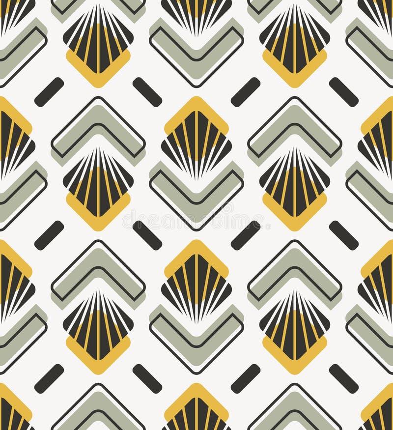 Rétro modèle sans couture avec les éléments floraux et géométriques abstraits illustration libre de droits