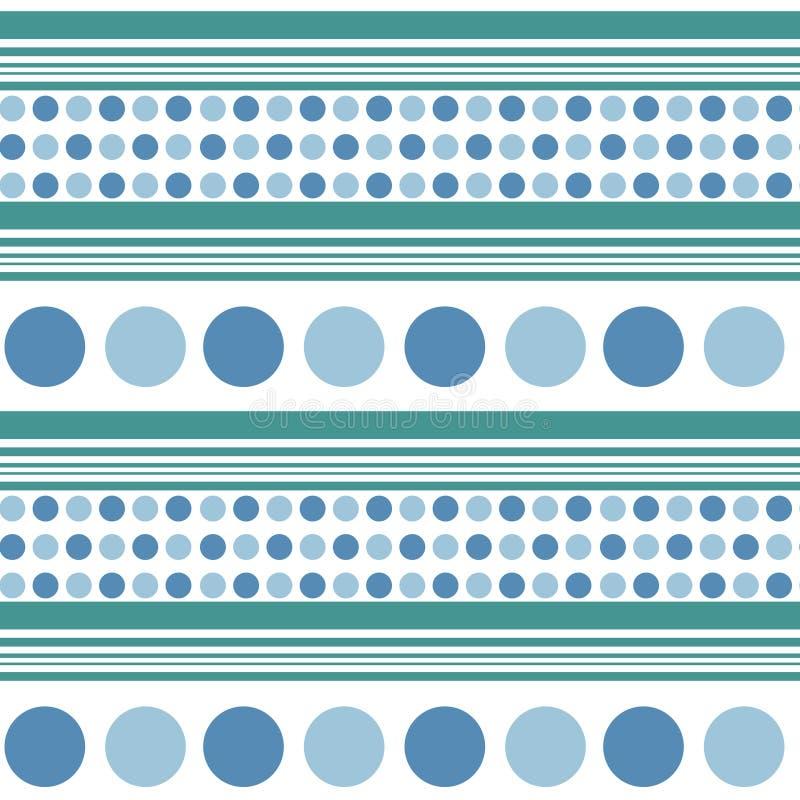 Rétro modèle sans couture - cercles bleus, lignes bleu vert de turquoise illustration de vecteur