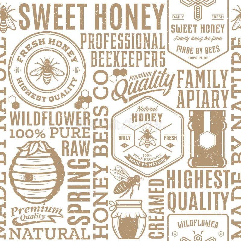 Rétro modèle sans couture dénommé, logo et icônes de miel illustration libre de droits