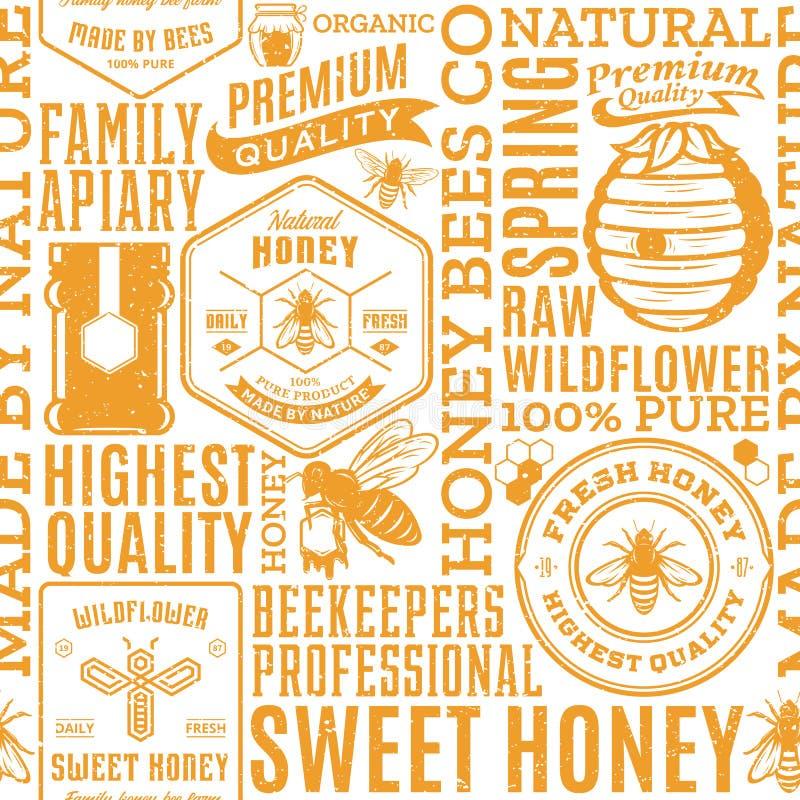 Rétro modèle sans couture dénommé, logo et icônes de miel illustration de vecteur