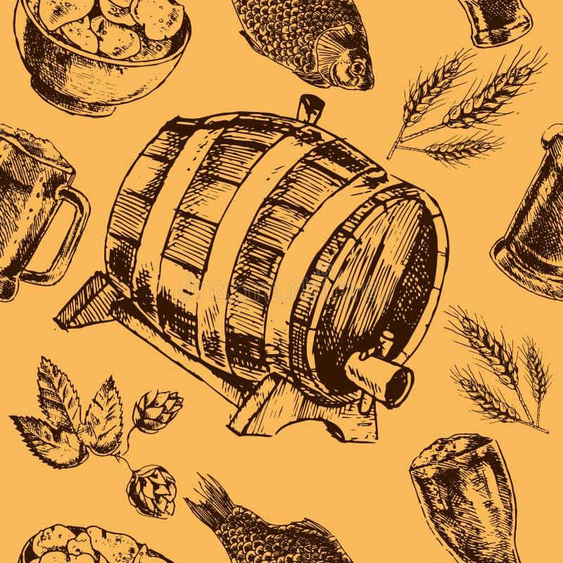 Rétro modèle sans couture de bière illustration libre de droits