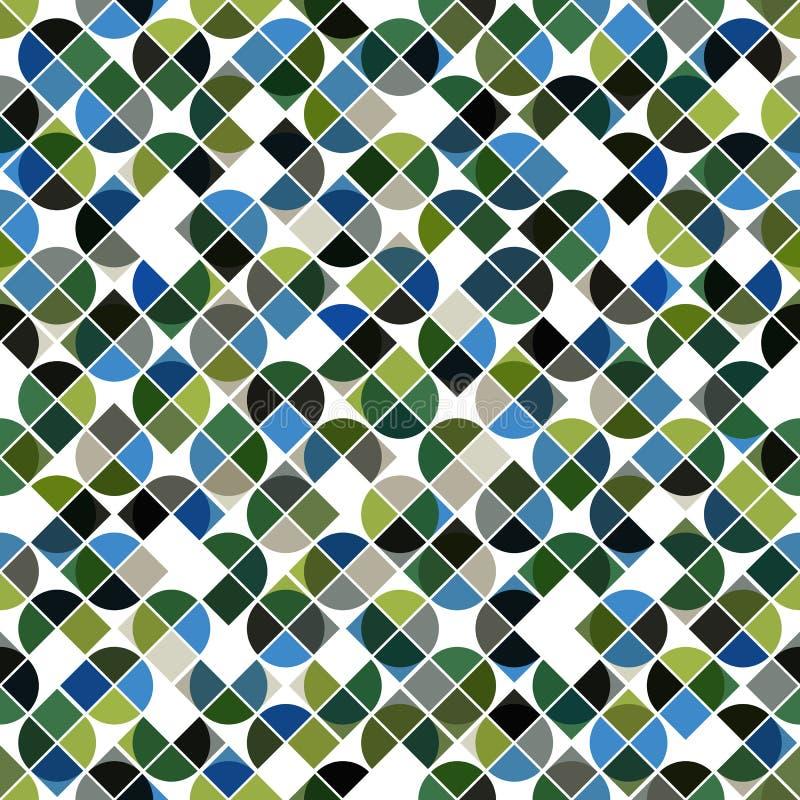 Rétro modèle sans couture de mosaïque abstraite dans des couleurs vertes et bleues illustration libre de droits