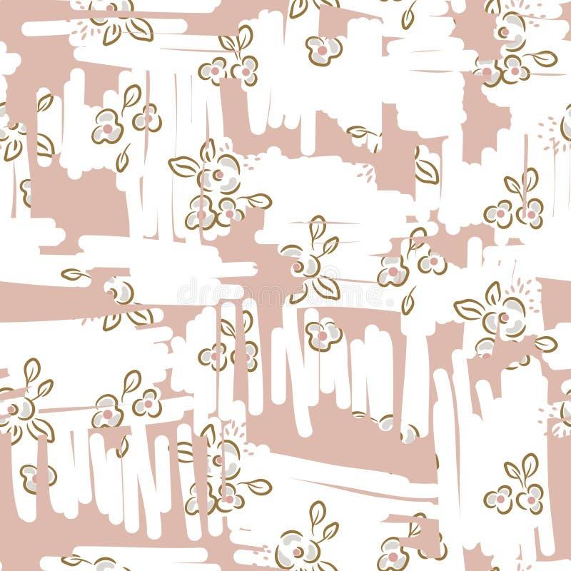 Rétro modèle sans couture floral léger avec les fleurs roses tirées par la main Les usines simples ont rayé la texture pâle de co illustration de vecteur