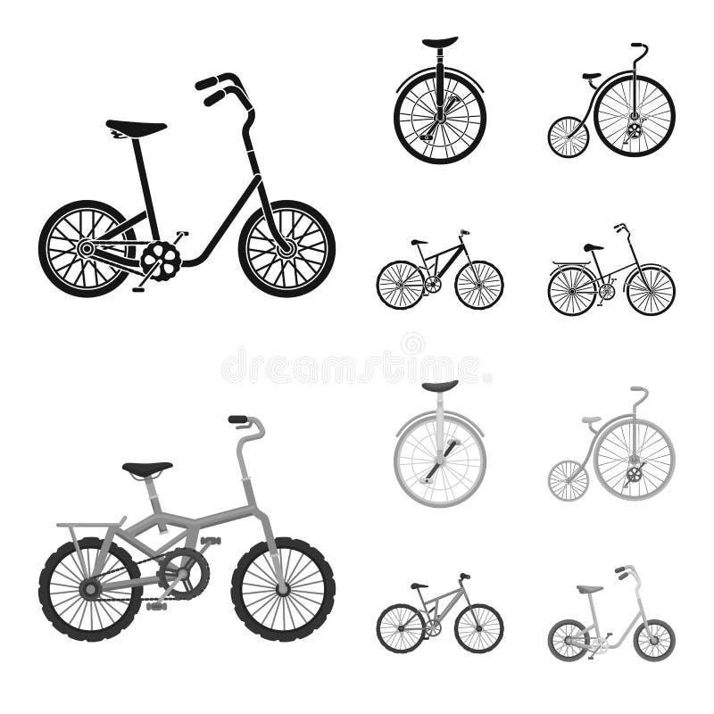 Rétro, monocycle et d'autres sortes Les différentes bicyclettes ont placé des icônes de collection en stock noir et monochrome de illustration stock