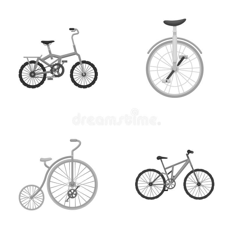 Rétro, monocycle et d'autres sortes Les différentes bicyclettes ont placé des icônes de collection en stock monochrome de symbole illustration de vecteur