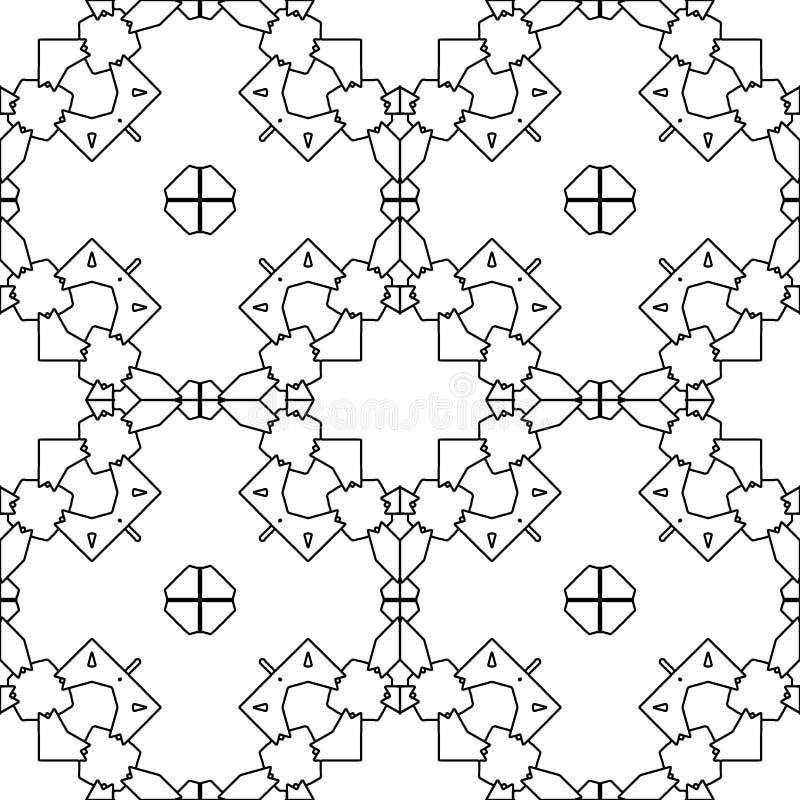 Rétro motif de tuile marocaine Page de livre de coloration illustration libre de droits