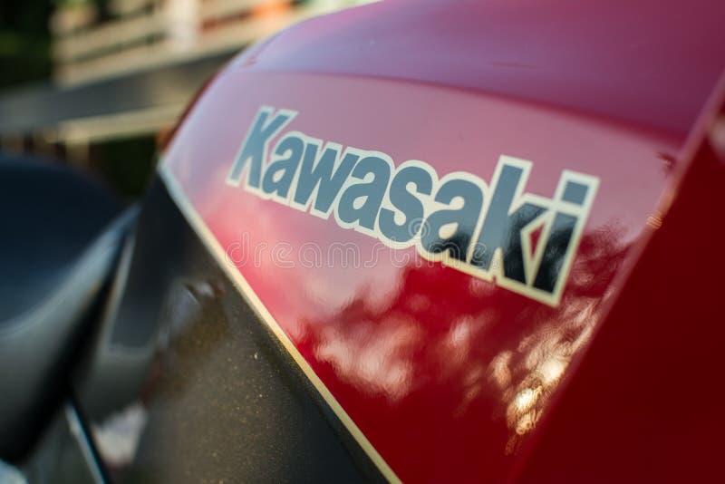 Rétro moto de Kawasaki GPZ photographiée dehors Vélo légendaire de film Top Gun image stock