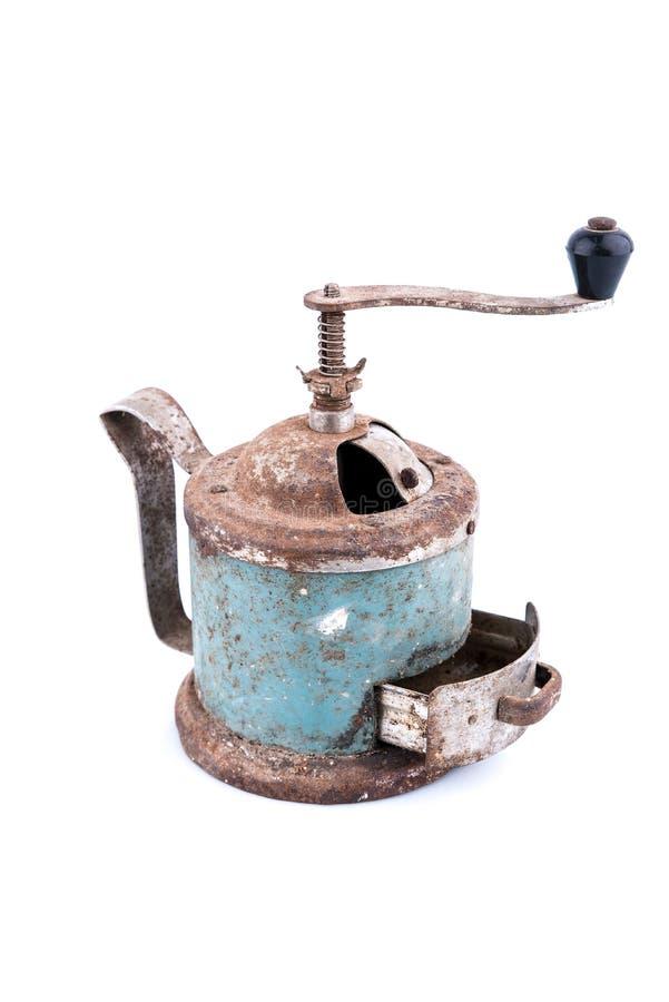 Rétro moulin à café manuel d'isolement sur le fond blanc, objet pour la conception image stock