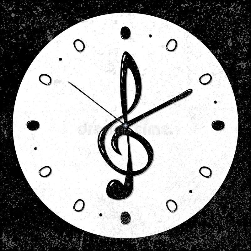 Rétro, musical concept d'horloge de clef triple, vecteur illustration libre de droits