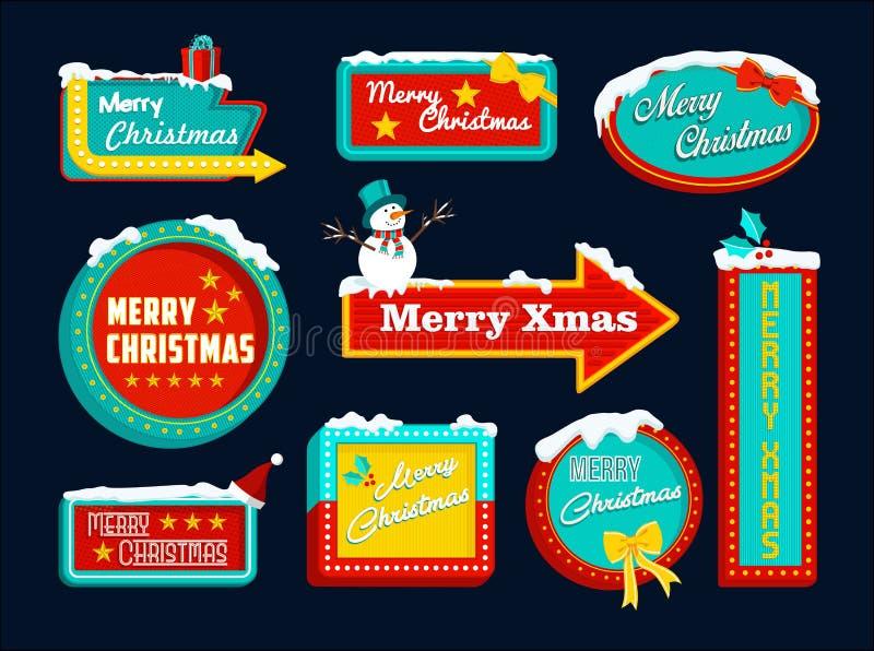 Rétro Noël de bonhomme de neige de neige de signe d'ensemble de Joyeux Noël illustration libre de droits