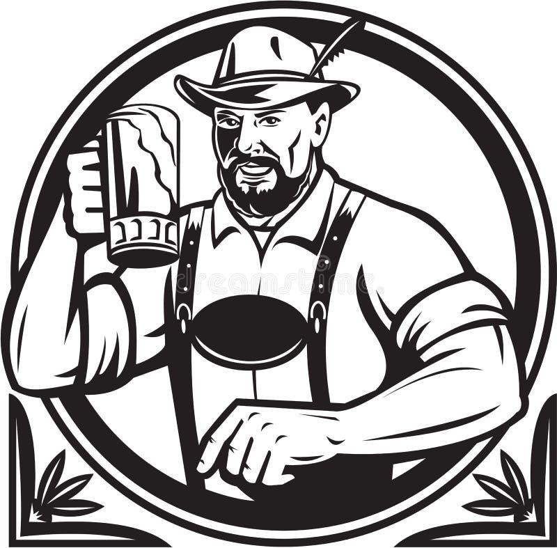 Rétro noir et blanc allemand d'Oktoberfest de buveur de bière illustration de vecteur