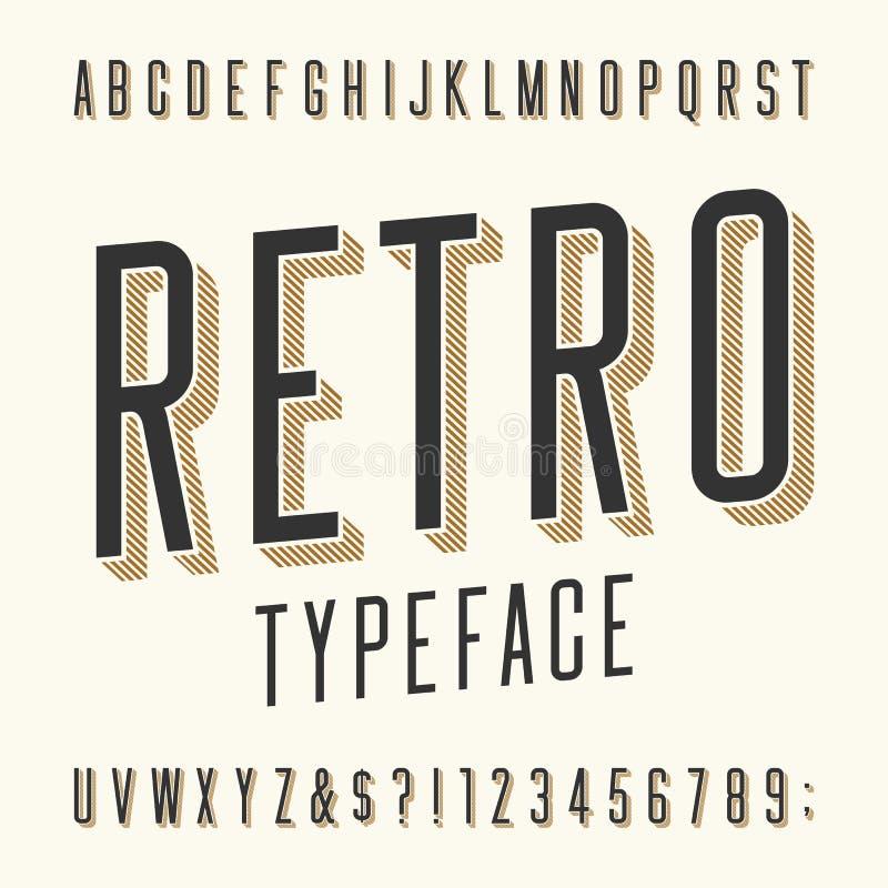 Rétro oeil d'un caractère Lettres, nombres et symboles illustration libre de droits