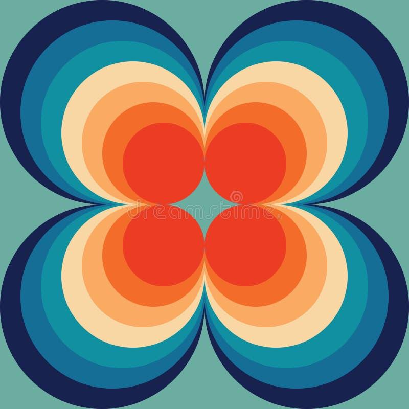 Rétro orange sans couture de Backround de résumé sur le modèle sans couture de cru bleu répétant le modèle illustration stock
