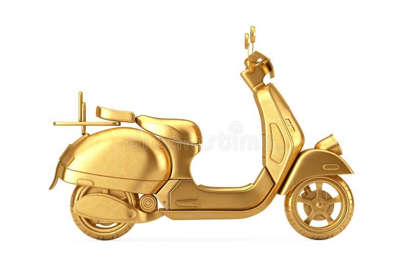 R?tro ou ?lectrique scooter de cru classique d'or rendu 3d illustration libre de droits